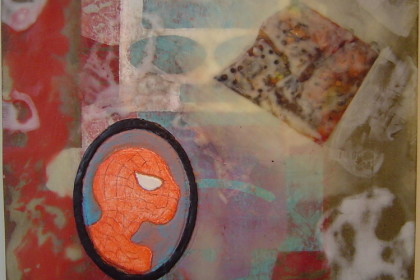 "11 ½ x 10 ½ "".  Encaustic on card."
