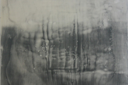 "8 ¾ x 8 ¾ "". Encaustic on panel."