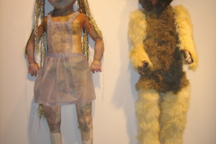 "Each approx. 16 x 6 x 5"".  Papier mache, rabbit mask and fur, glass eyes,  watercolor, 24 ct gold thread, rice paper."