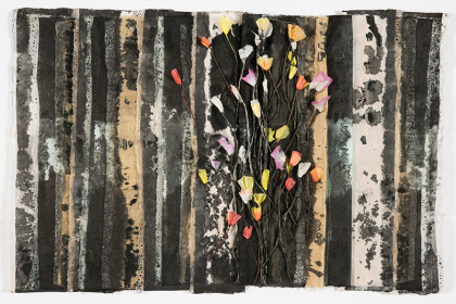 24 x37 x 2. Japanese papers, silk, wax, watercolor, ink.