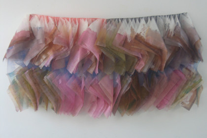 "22 x 41 x 4"". Jajanese papers, wax, dye, silk."