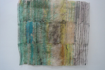 "29 x 21 x 3"".  Japanese rice papers, wax, dye and ink."
